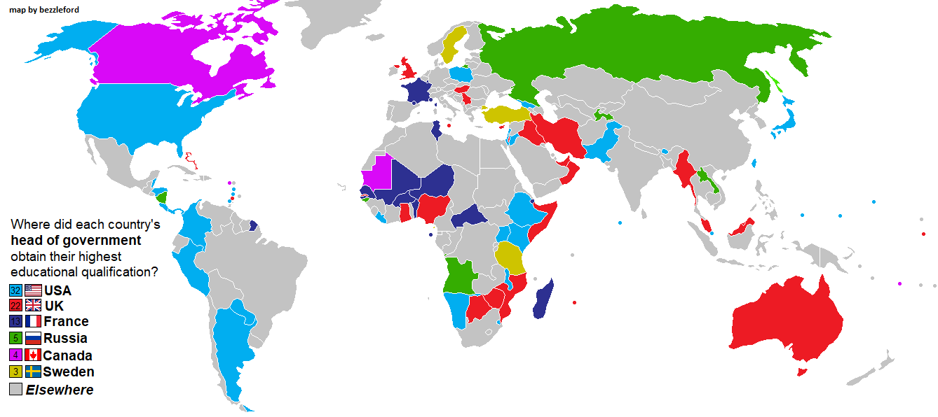 Where did each country's head of government obtain their highest educational qualification?