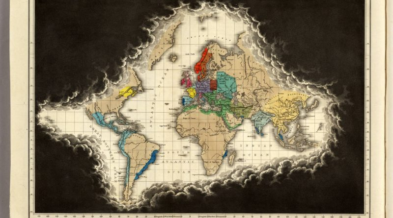 Map of the World Known to Europe at the Death of Charles V (1551)