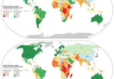 China's GDP per capita compared to the world - 2016 vs 2010)