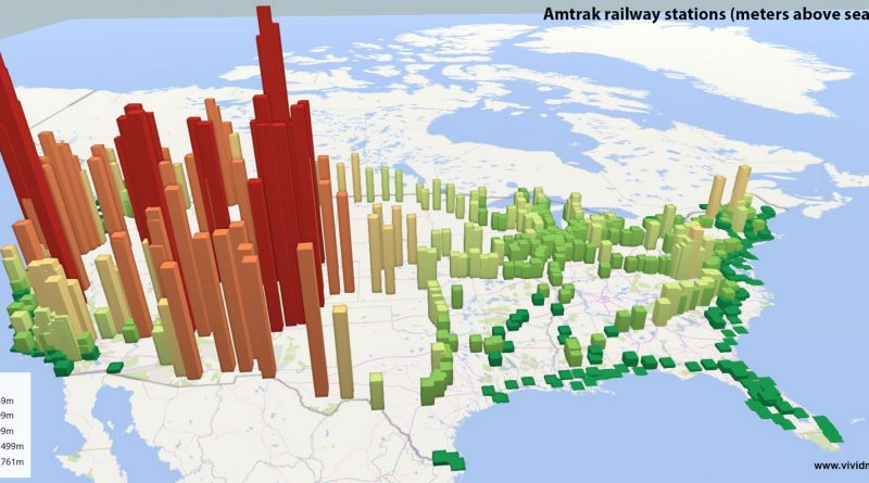American railway stations (Meters above sea level)