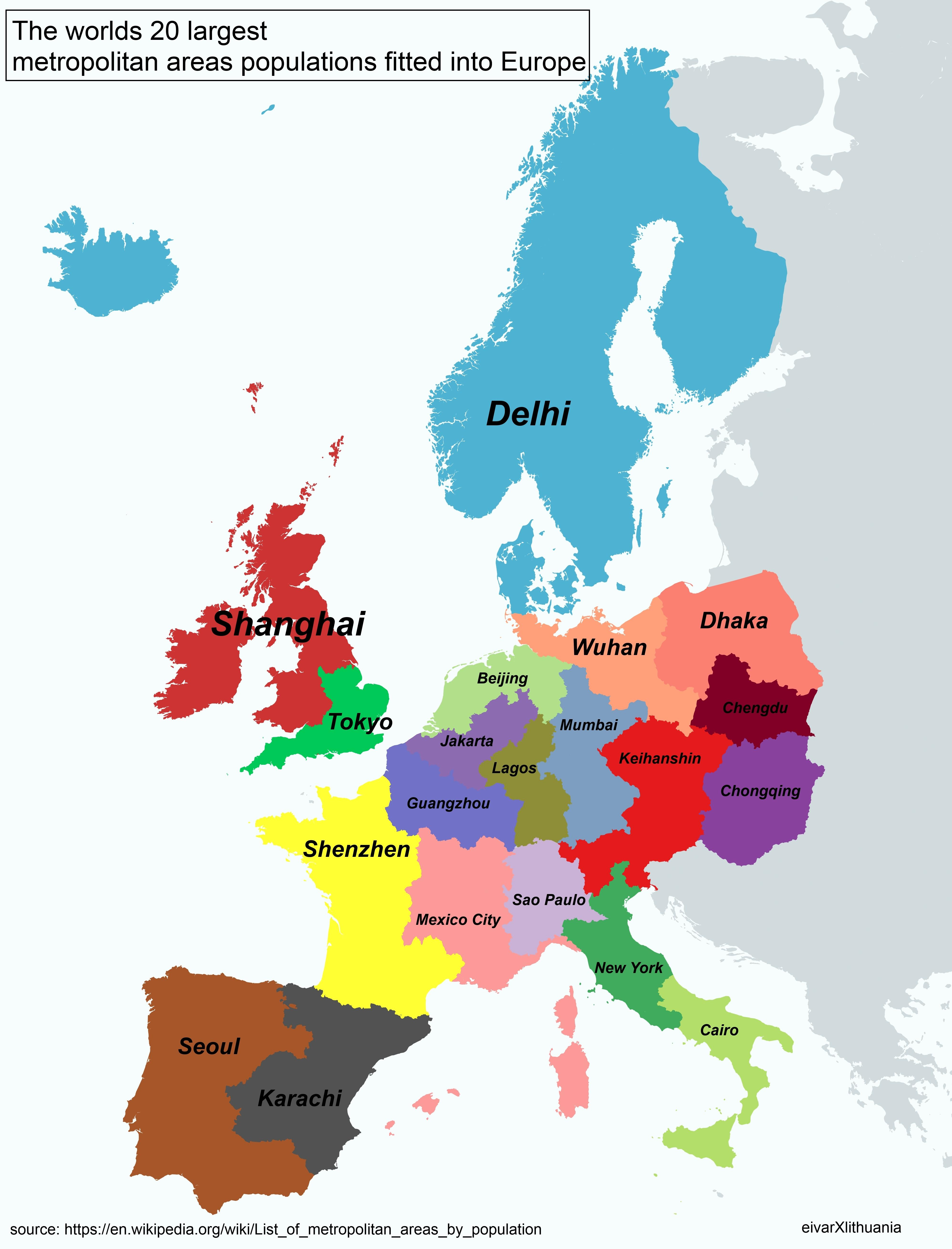 The worlds twenty largest metropolitan areas populations fitted into Europe