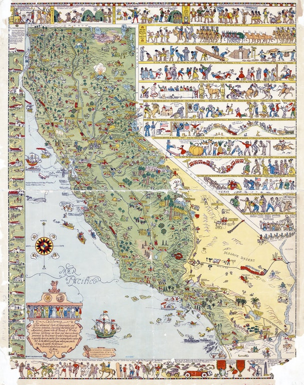 Illustrated Tourist Map of California, 1927