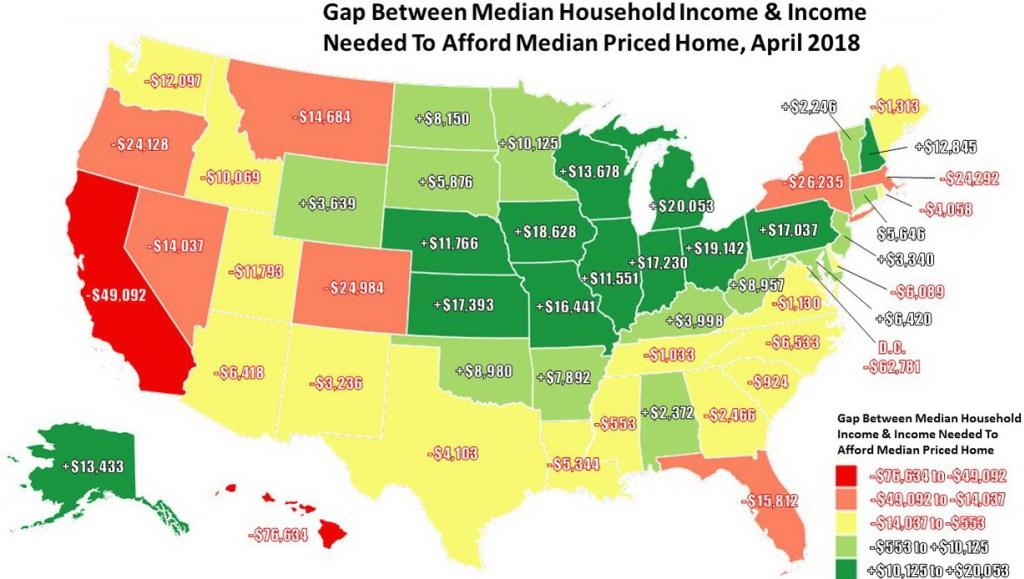 Gap Between Median Household Income and Income Needed To Afford Median-Priced Home In Each U.S. State
