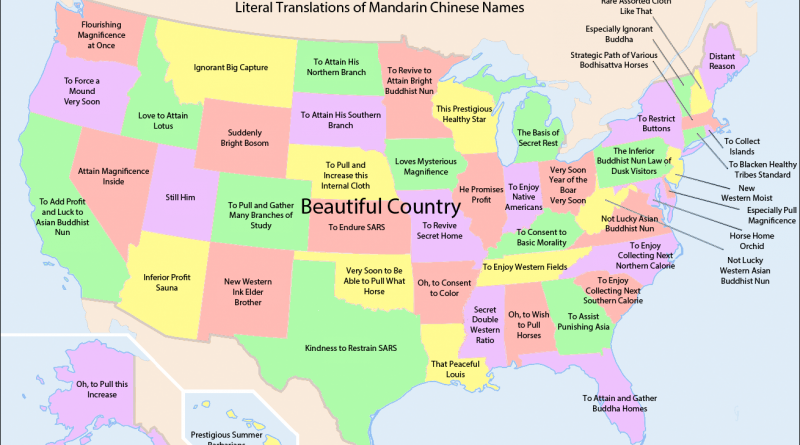 Literal translations of Mandarin Chinese names for States