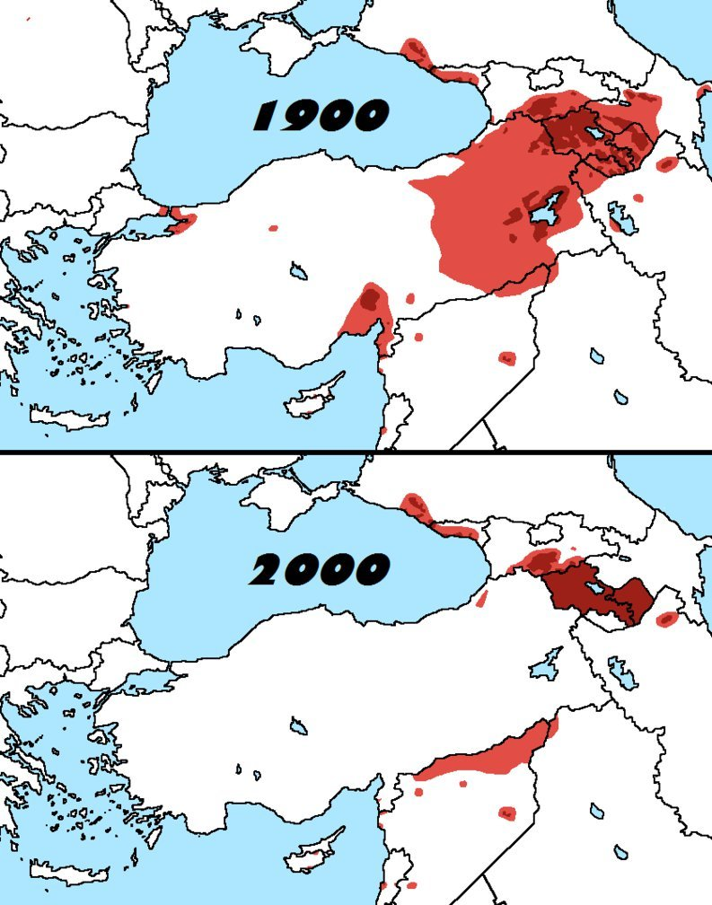 Distribution of Armenians in 1900 & 2000