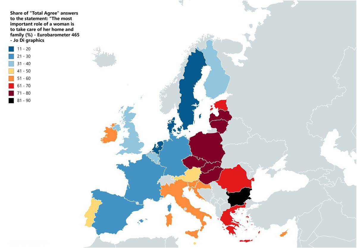 What do Europeans think of the role of a woman in their country?