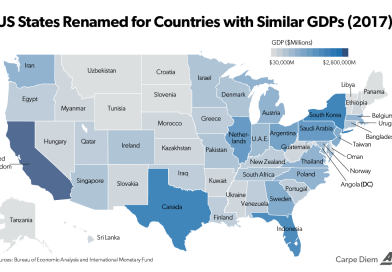 U.S. states renamed for countries with similar GDPs, 2017