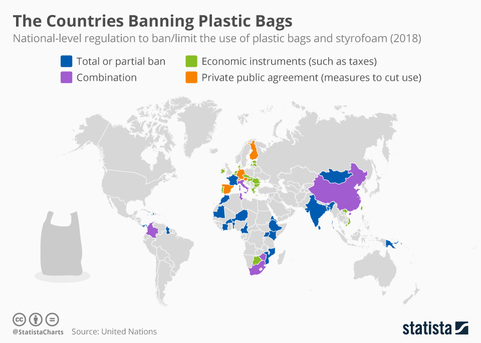 The Countries Banning Plastic Bags (2018)