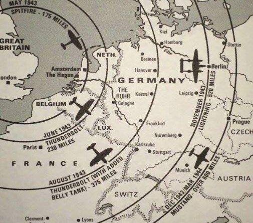 A map of the distance WW2 fighters can fly from the UK mainland