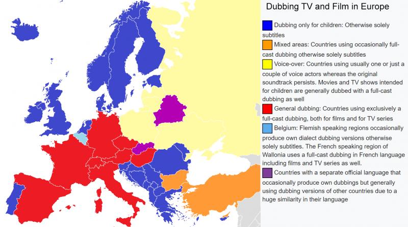 Dubbing films in Europe
