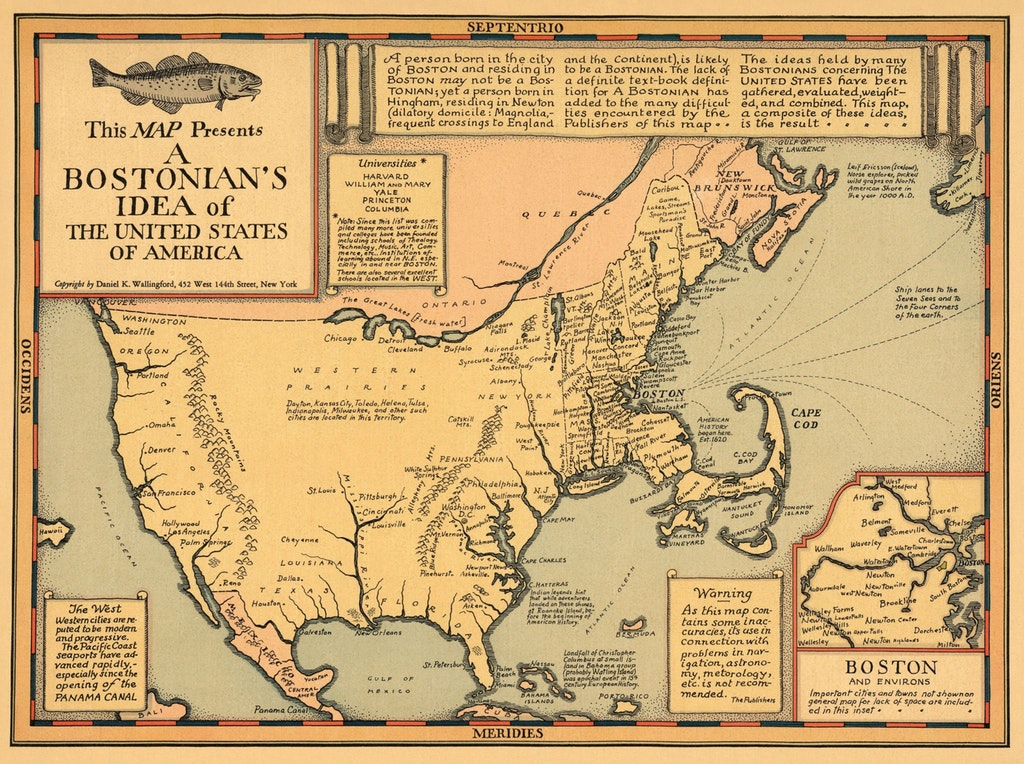 This map presents a Bostonian's Idea of the United States of America