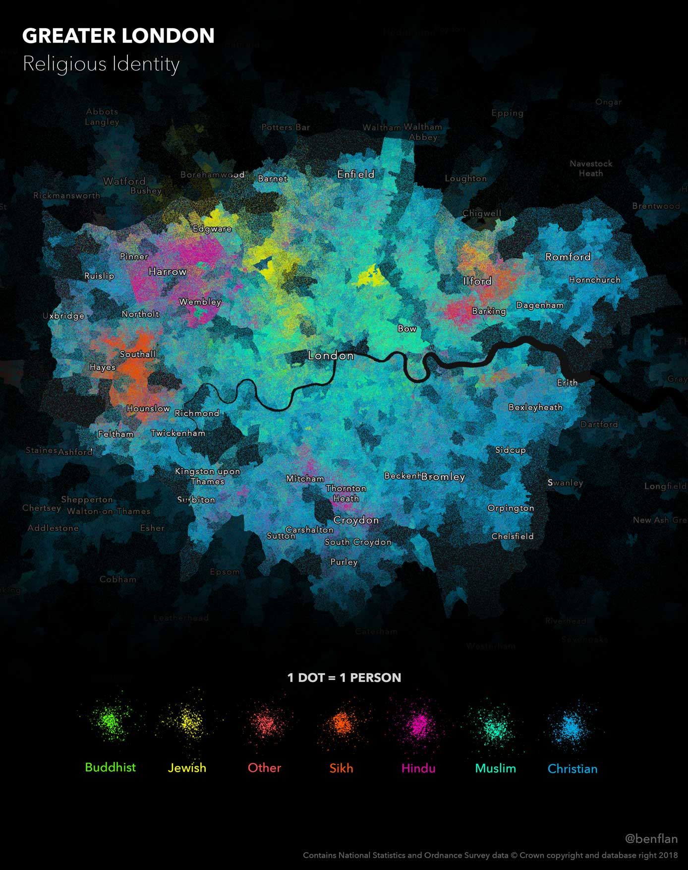Religious identity across Greater London