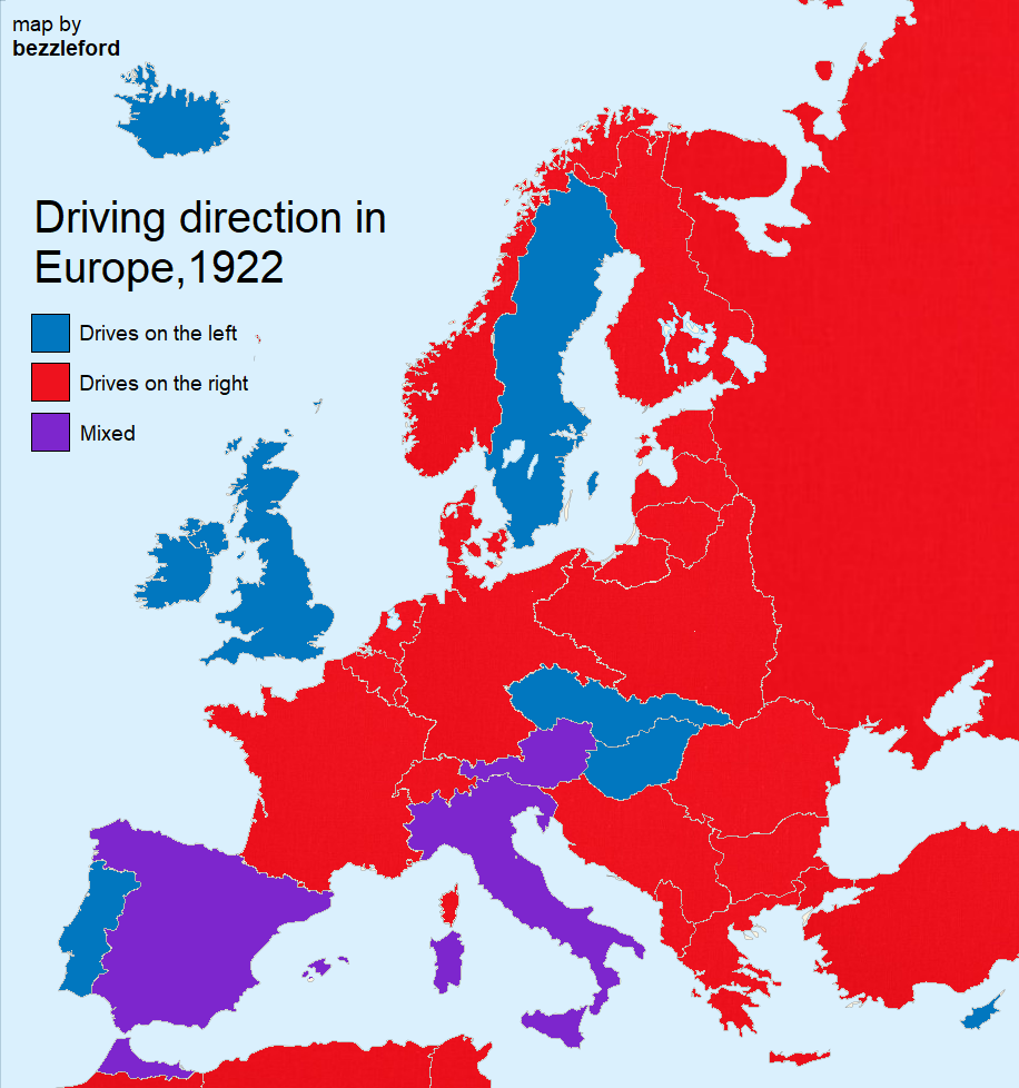 Left- and right-hand traffic in Europe
