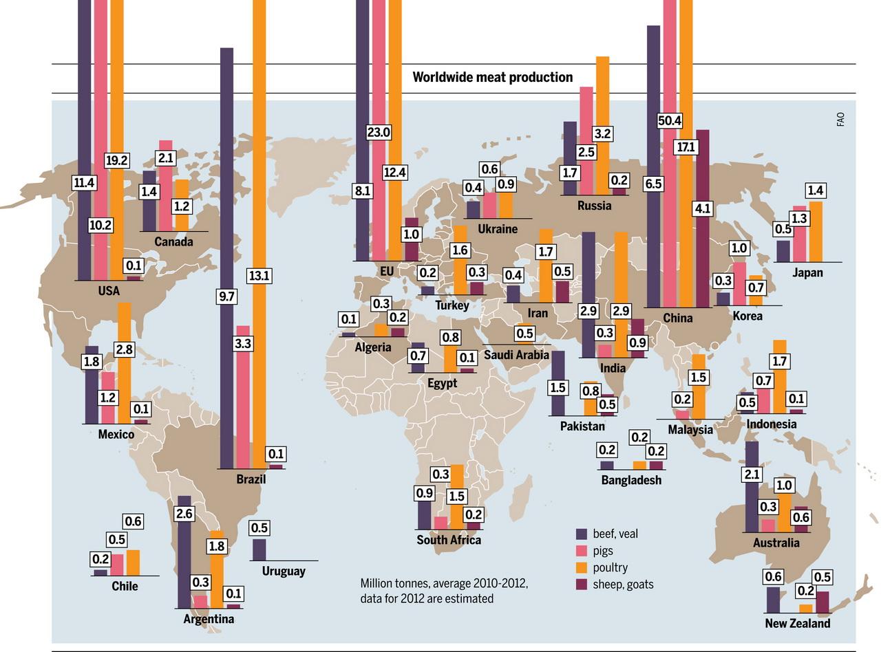 Worldwide meat production