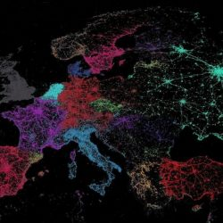 World, as mapped by tweets - Each color is a language