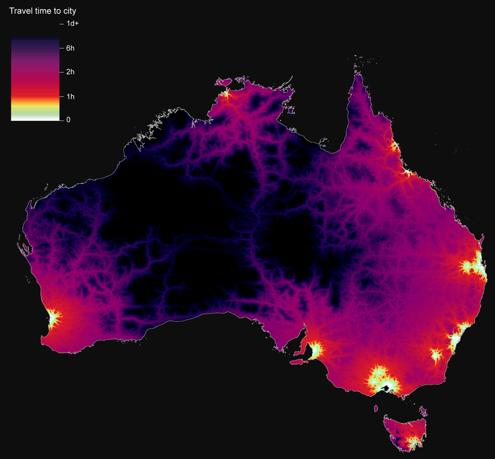 Australia: Travel time to the nearest city over 100 thousand population