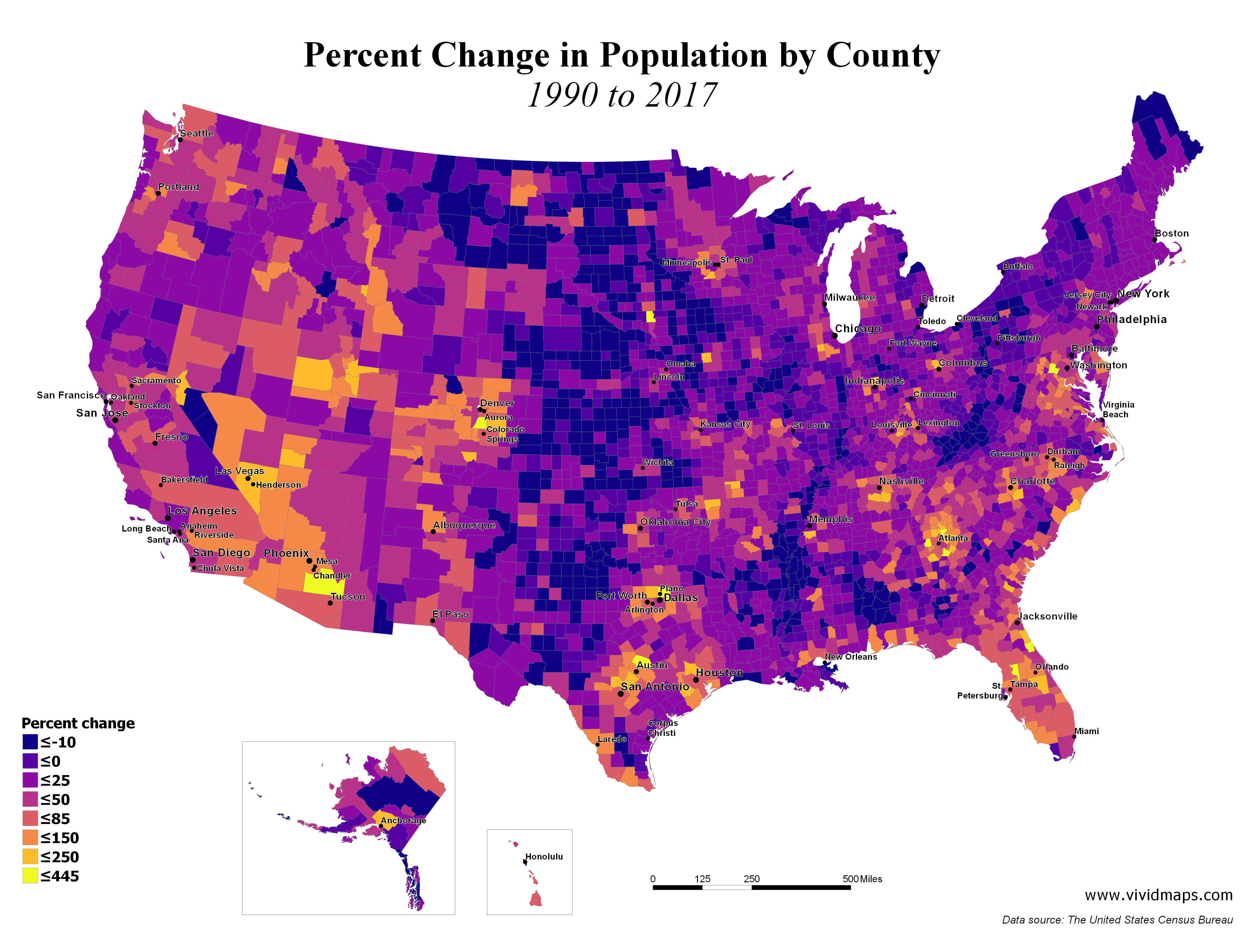 Percent Change in Population by County (1990 - 2017)