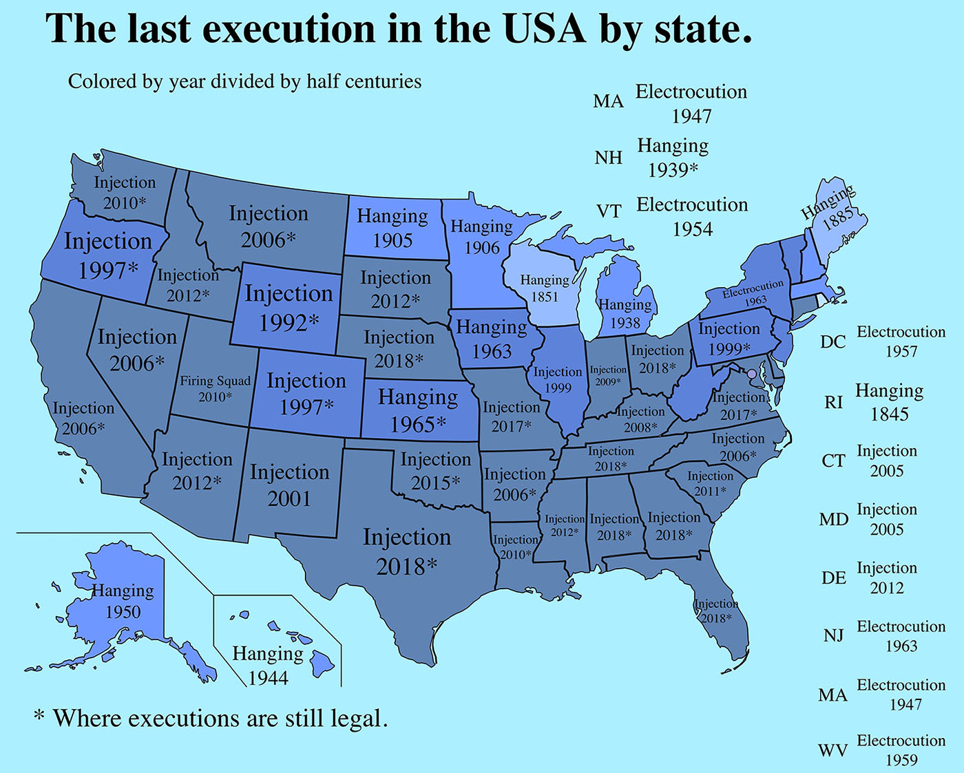 The last execution in the United States