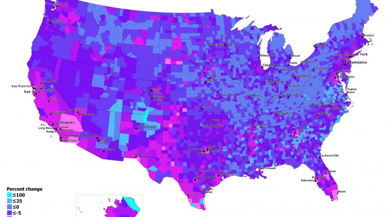 Percent change in Whites Non Hispanic Population