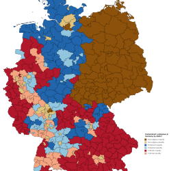 Predominant confessions in Germany by district