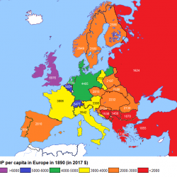 GDP per Capita in Europe 1890 vs 2017