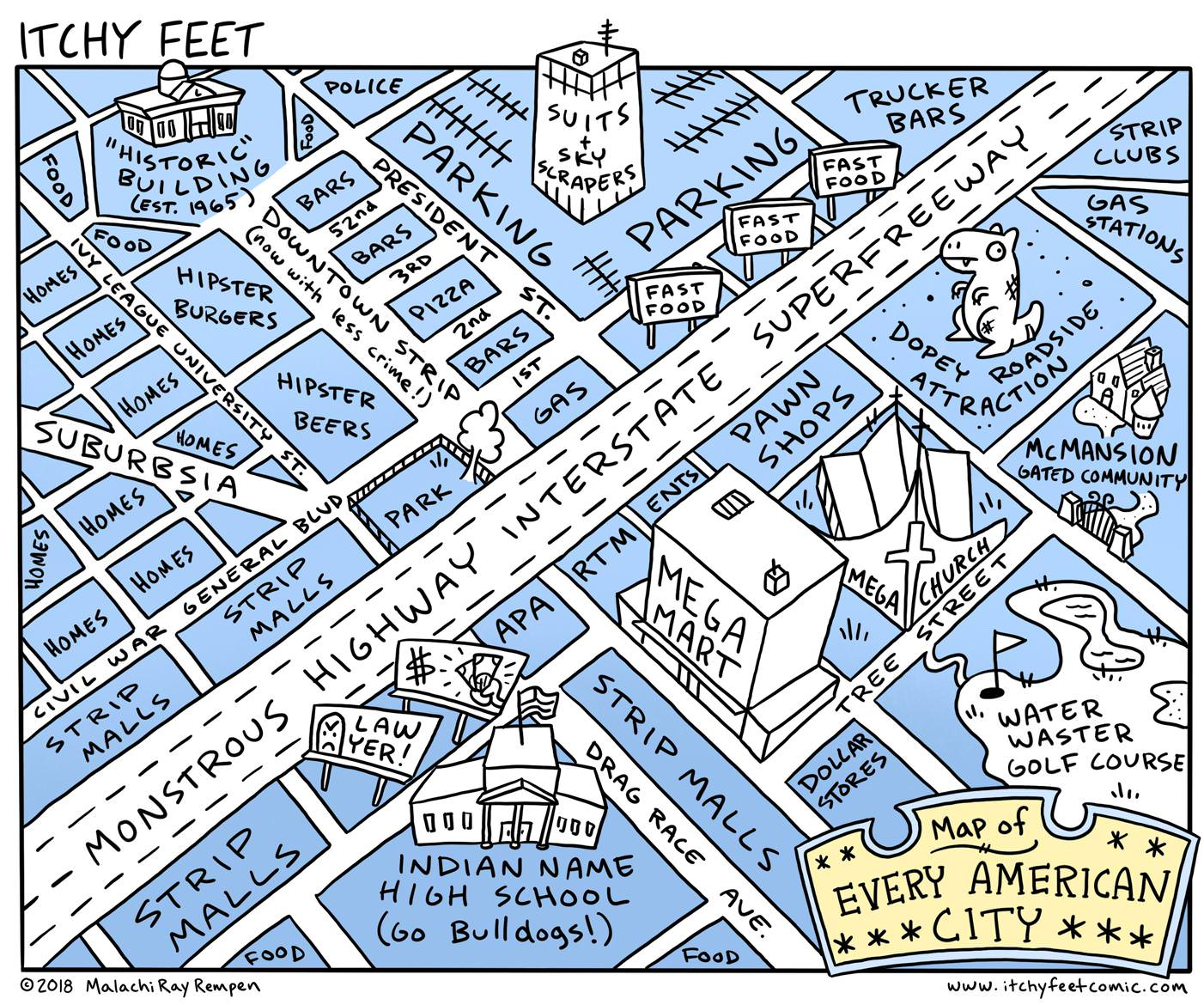 Map of every American city