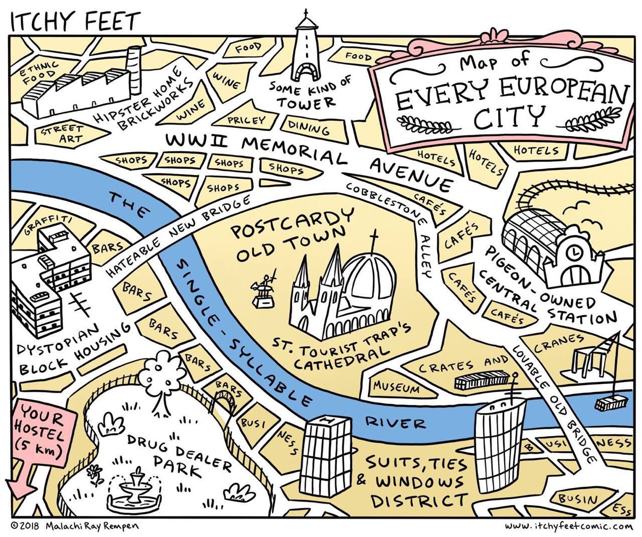 Map of every European city