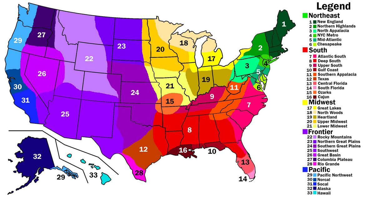 Image of: Regions Of The United States Vivid Maps