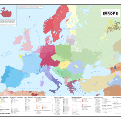 Language Map of Europe and Surrounding Areas