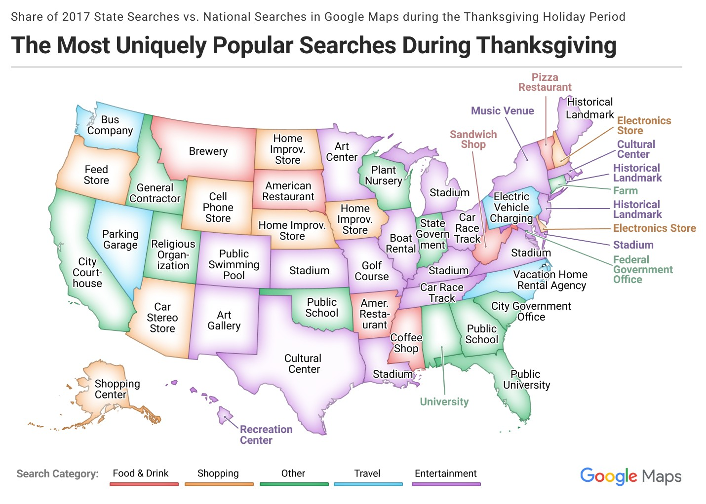 The Most Uniquely Popular Search In Each State During Thanksgiving