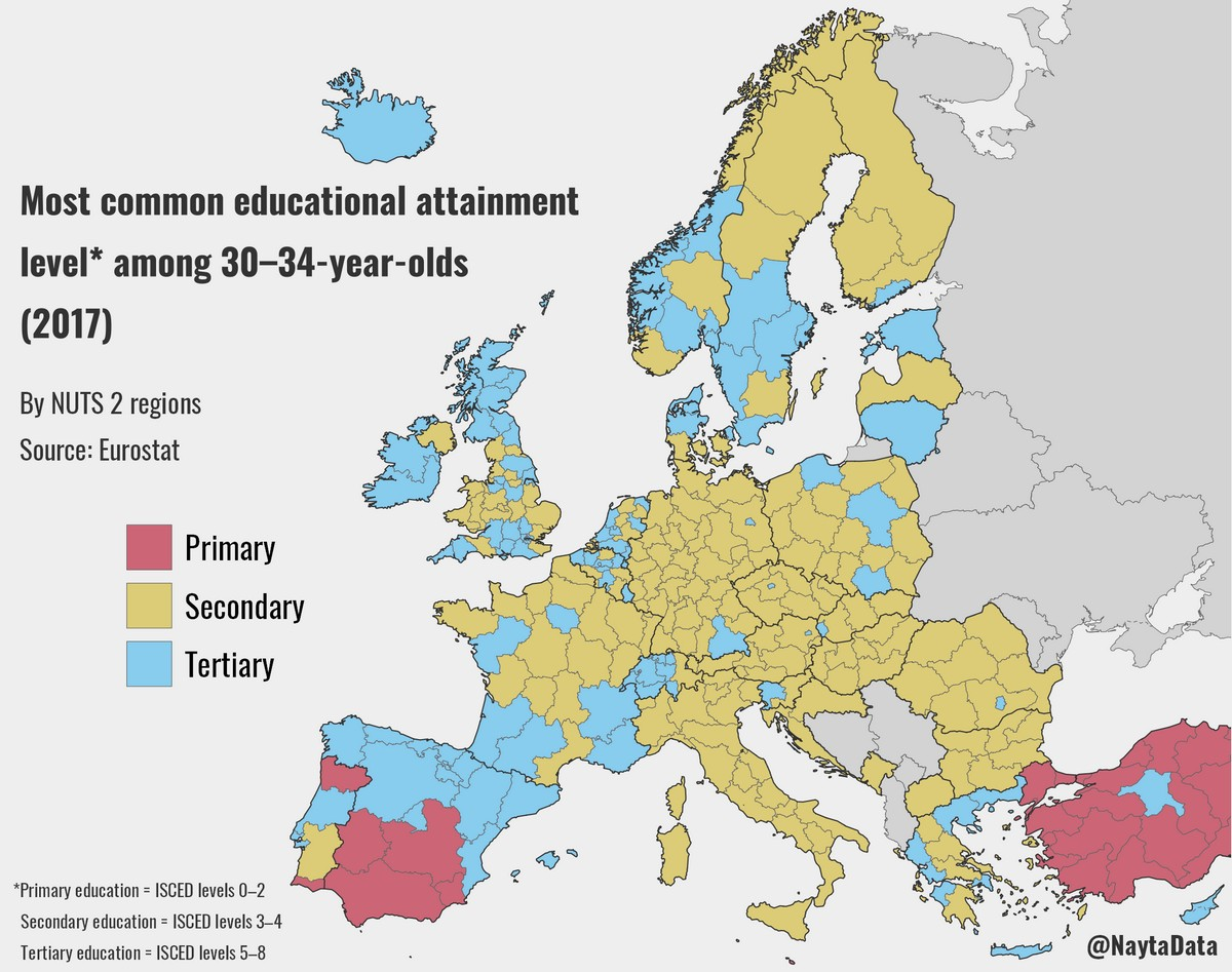 Most common educational attainment level among 30–34-year-olds in Europe