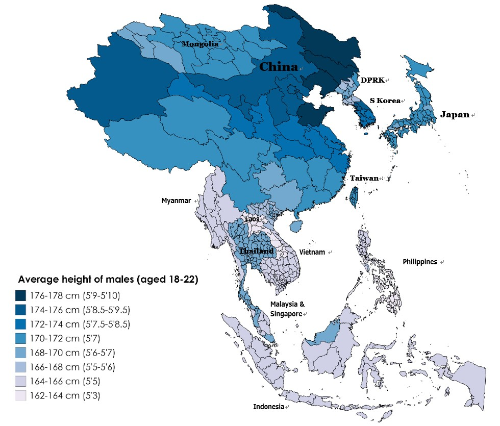 Average height of Asian males aged 18-22