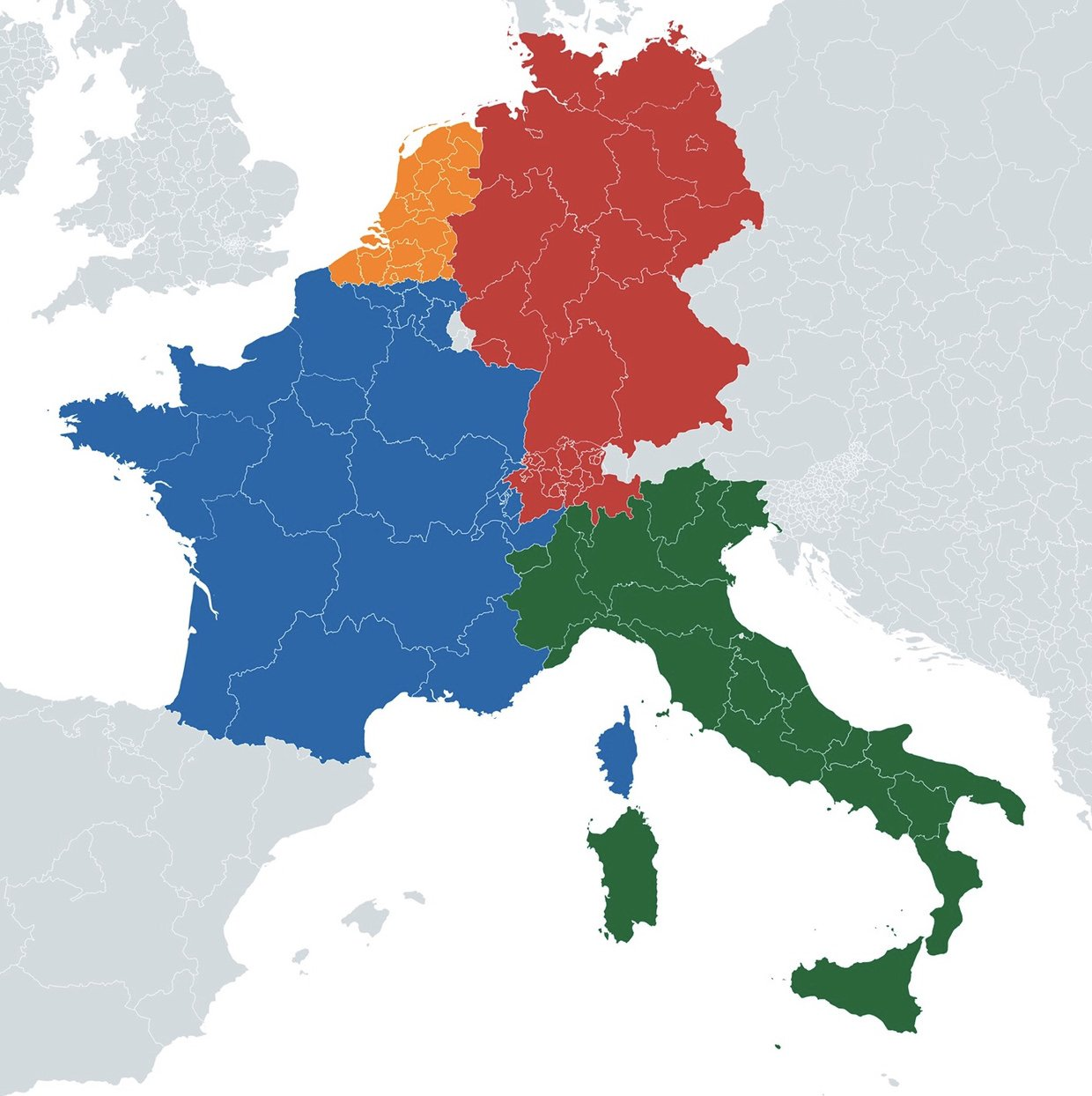 Map if regions of Belgium and Switzerland merged with neighboring countries based on the most spoken language