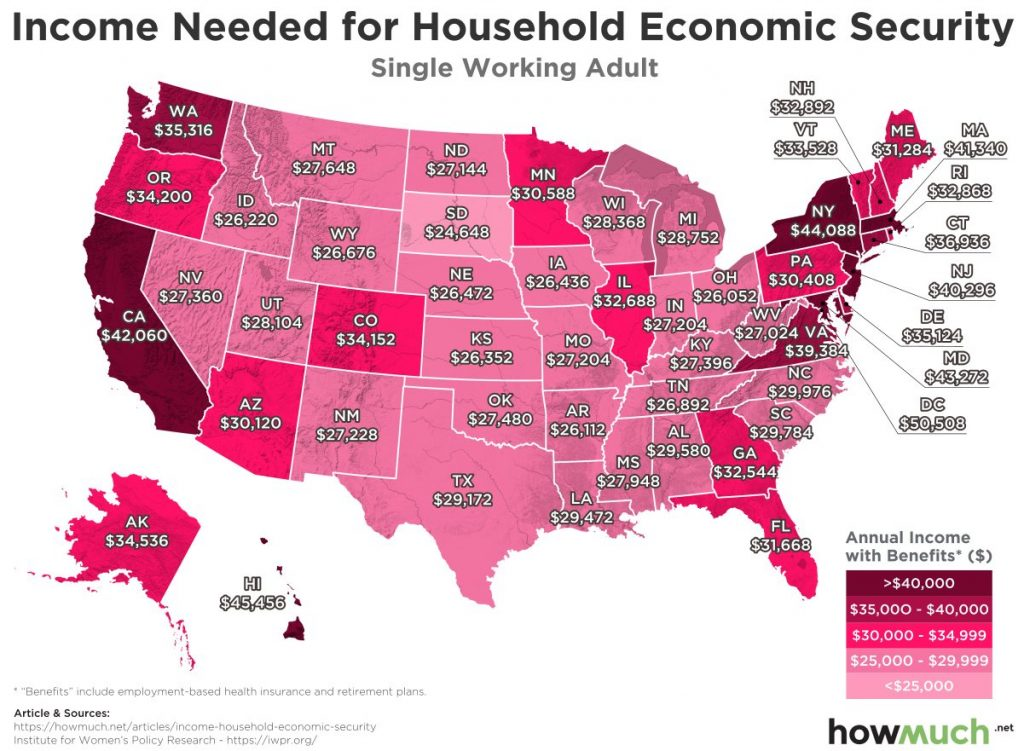 Income needed for household economic security (Single working adult)
