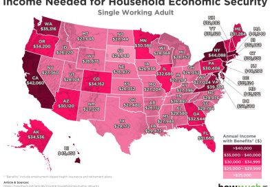 Income needed for household economic security in every U.S. state