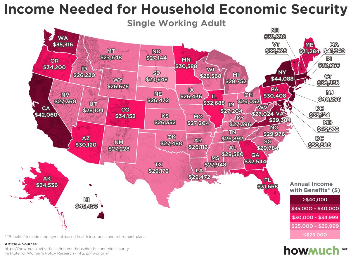 Income Needed For Household Economic Security In Every Us State - Income-map-of-us