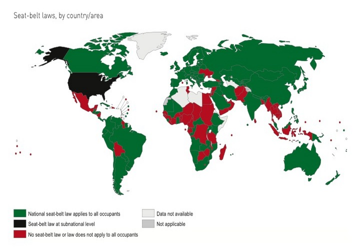 Seat-belt laws by country