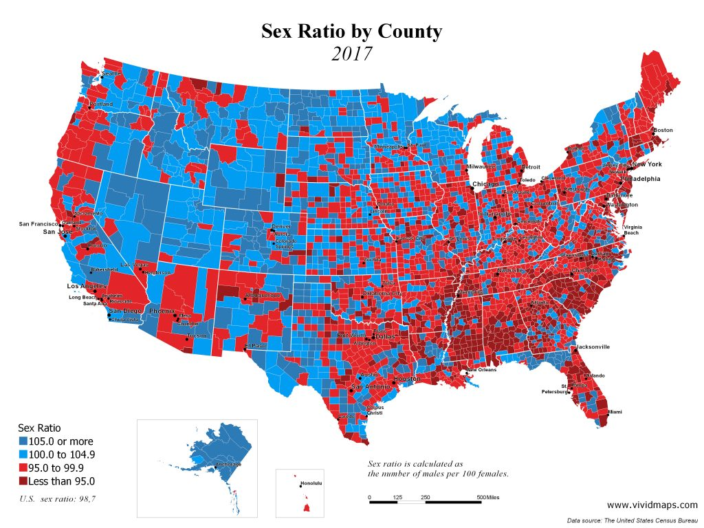 Sex Raito by U.S. County, 2017