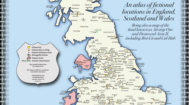 A Map Of Fictional Locations In England, Scotland And Wales