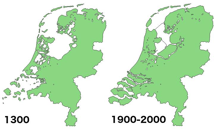 The Netherlands in 1300 vs 2000