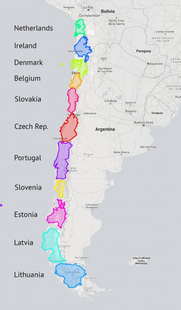 European countries that fit into Chile