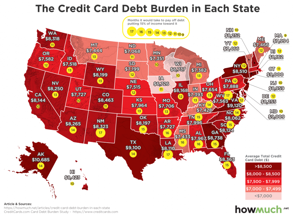 The Credit Card Debt Burden in Each State