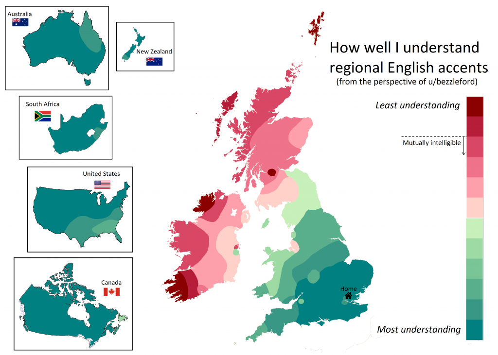 How well I understand regional English accents