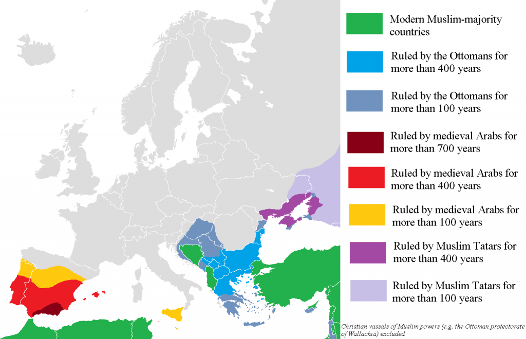 Parts of Europe that Muslim states have ruled for more than one hundred years, from 711 to today