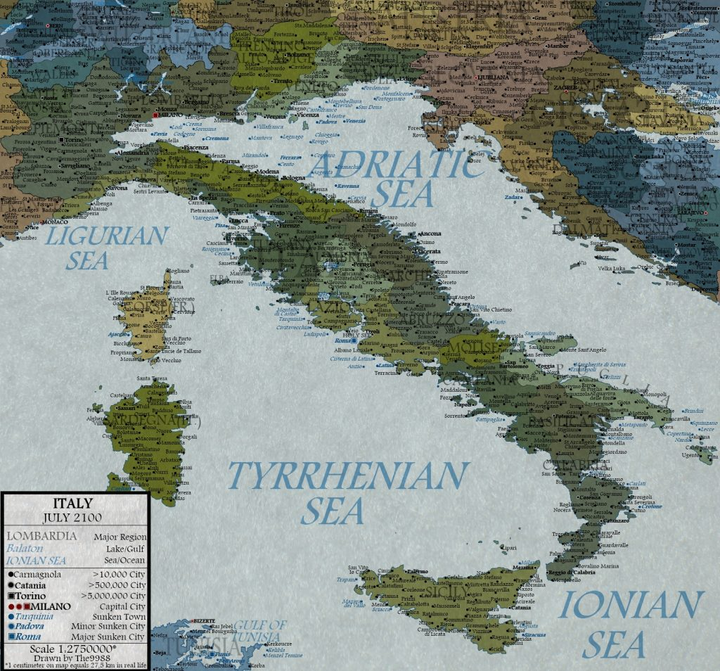 Italy with a 100 meters sea level rise