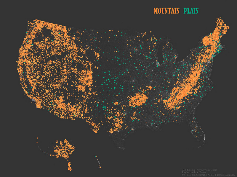 "Occurrence of place names that contain the words ""Mountain"" and ""Plain"""