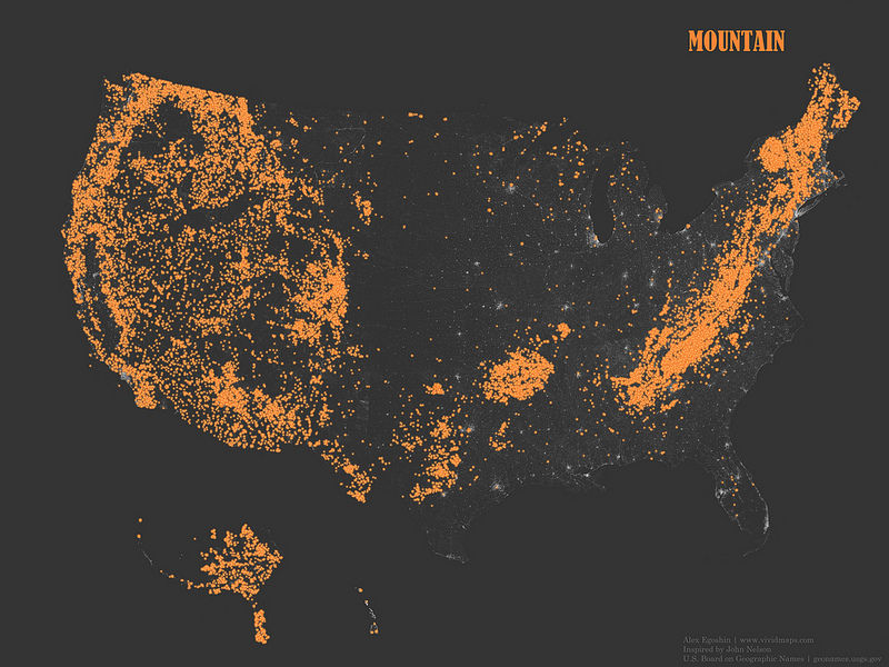 "Occurrence of place names that contain the word ""Mountain"""