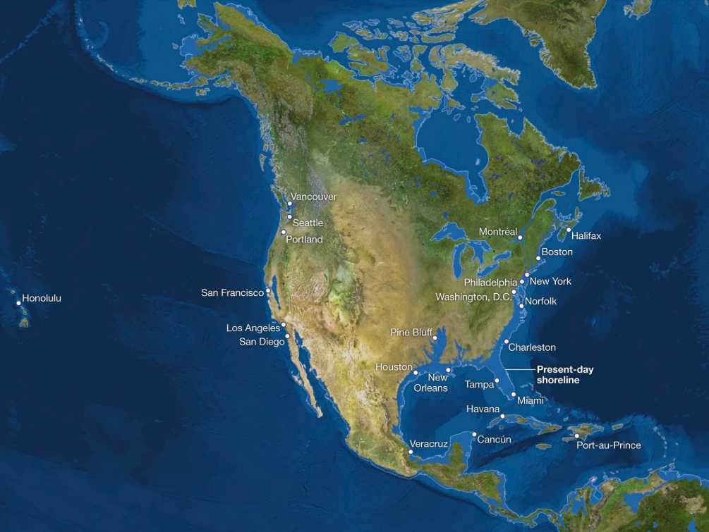 Northern America with a 100 meters sea level rise