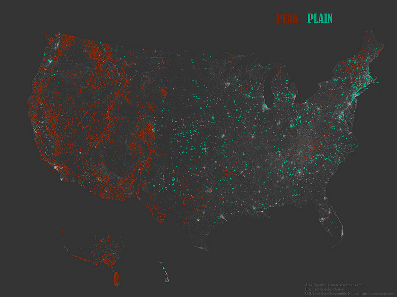"The occurrence of place names that contain the words ""Peak"" and ""Plain"""