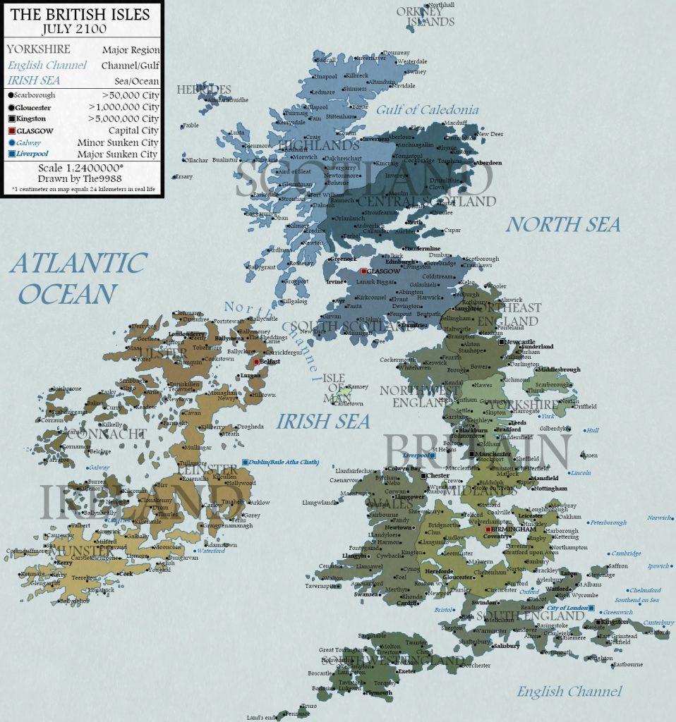 The British Isles with a 100 meters sea level rise